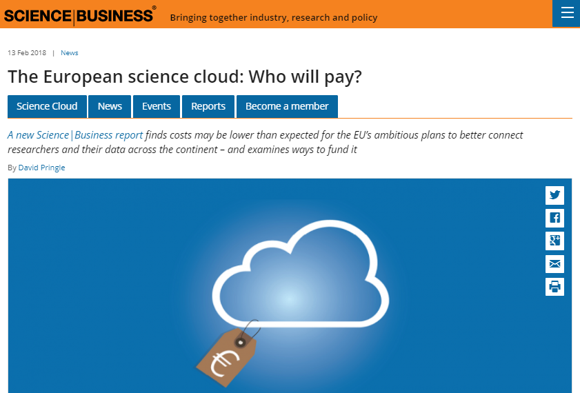 The European science cloud: Who will pay?