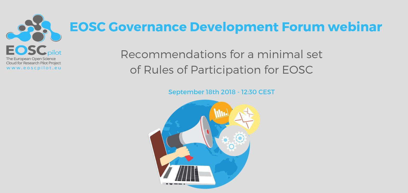 EOSC Governance Development Forum webinar – 18th September 2018